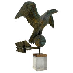 Antique Gilt Copper Eagle Weathervane on Lucite Stand, American, circa 1850