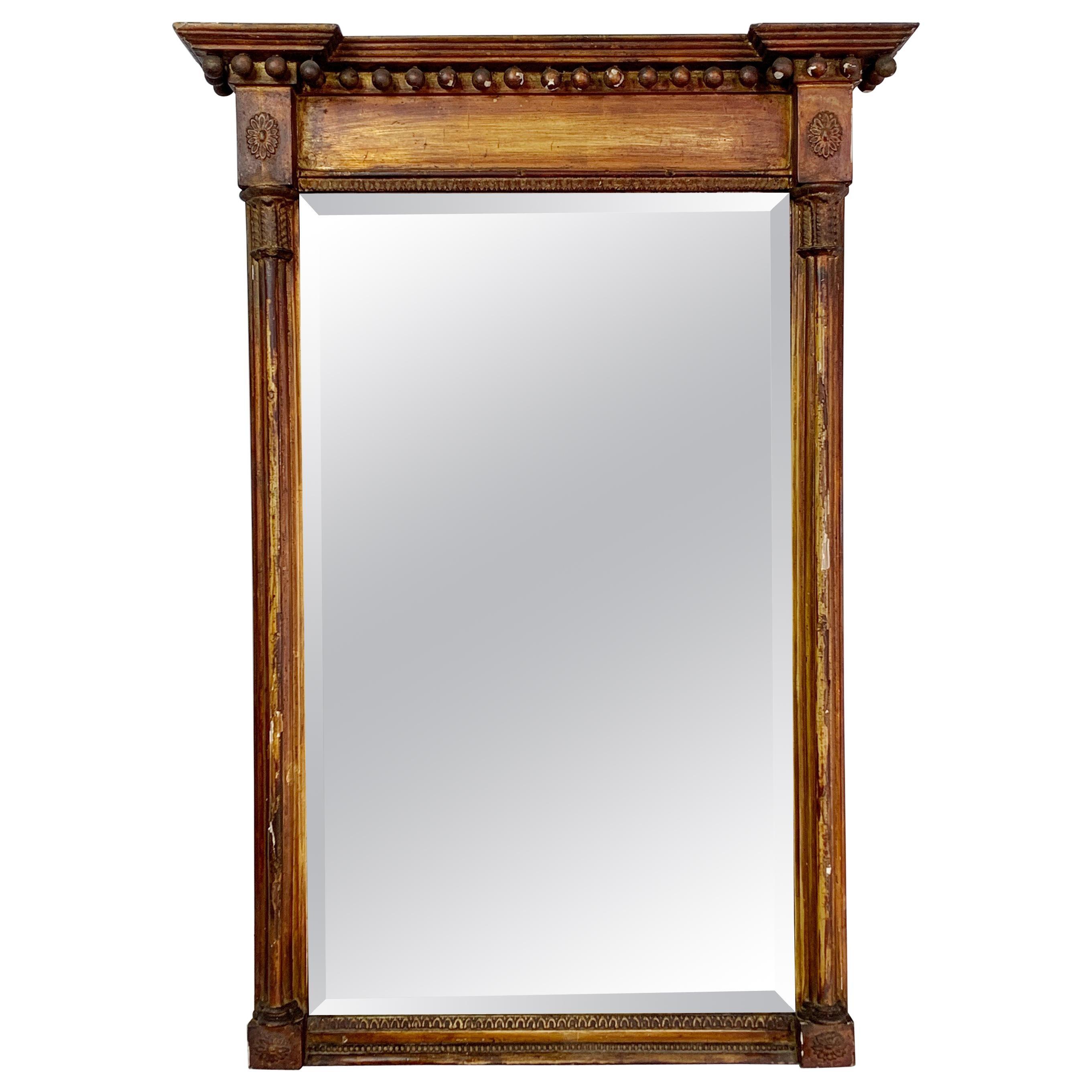 Antique Gilt Empire Trumeau Mirror, Foxed, circa 1820