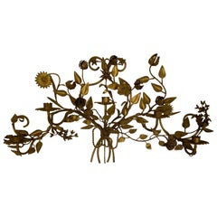 Antique Gilt Metal 5-Candle Floral Wall Sconce