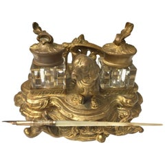 Antique Gilt Metal Double Glass Inkwells with Dachshund Dog
