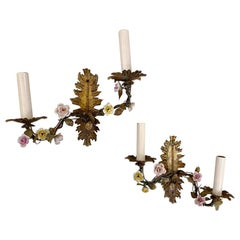 Antique Gilt Metal Sconces with Porcelain Flowers