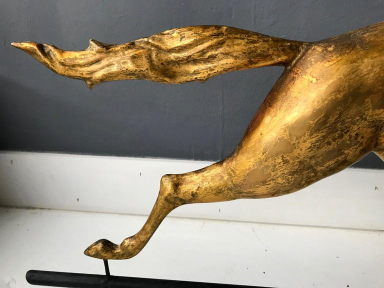 Antique Gilt Running Horse Weathervane Attributed to J.W. Fiske For Sale 7