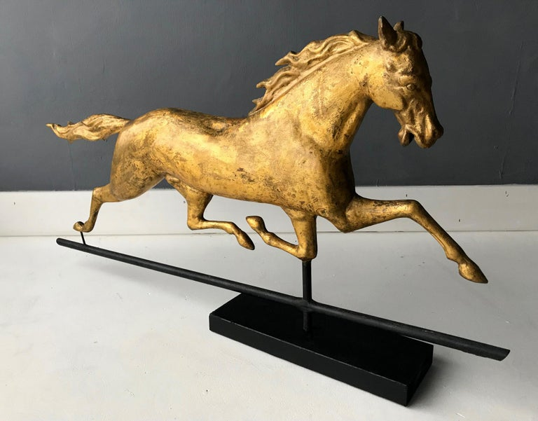 American Classical Antique Gilt Running Horse Weathervane Attributed to J.W. Fiske For Sale