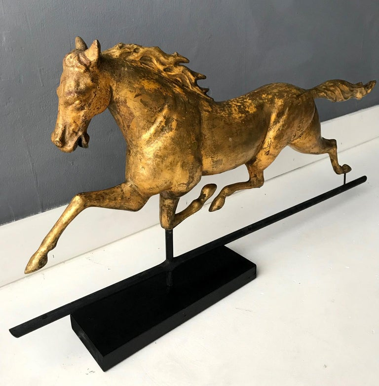 American Antique Gilt Running Horse Weathervane Attributed to J.W. Fiske For Sale