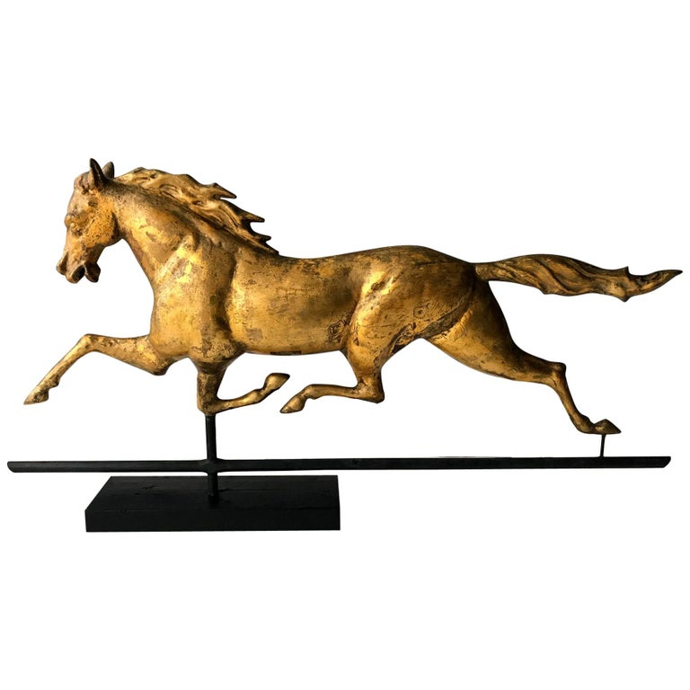 Antique Gilt Running Horse Weathervane Attributed to J.W. Fiske For Sale