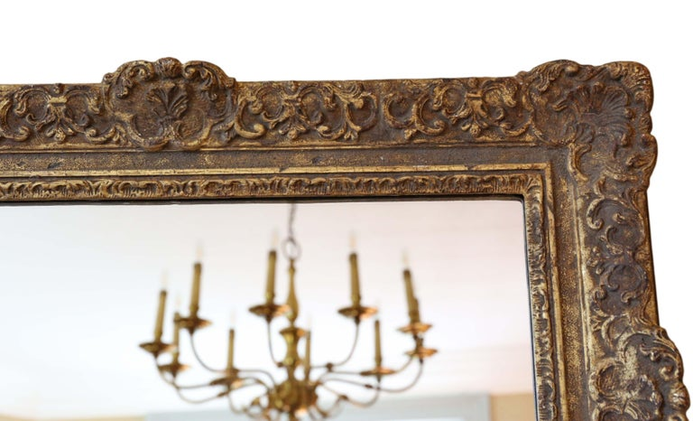 Antique Gilt Wall Mirror 19th Century Overmantle In Good Condition For Sale In Wisbech, Cambridgeshire