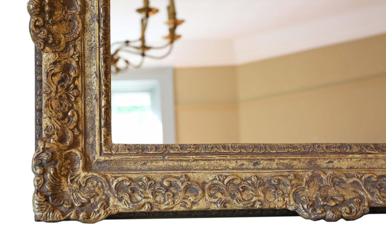 Giltwood Antique Gilt Wall Mirror 19th Century Overmantle For Sale