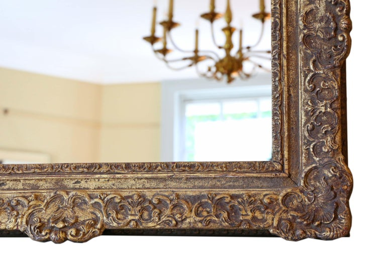 Antique Gilt Wall Mirror 19th Century Overmantle For Sale 1