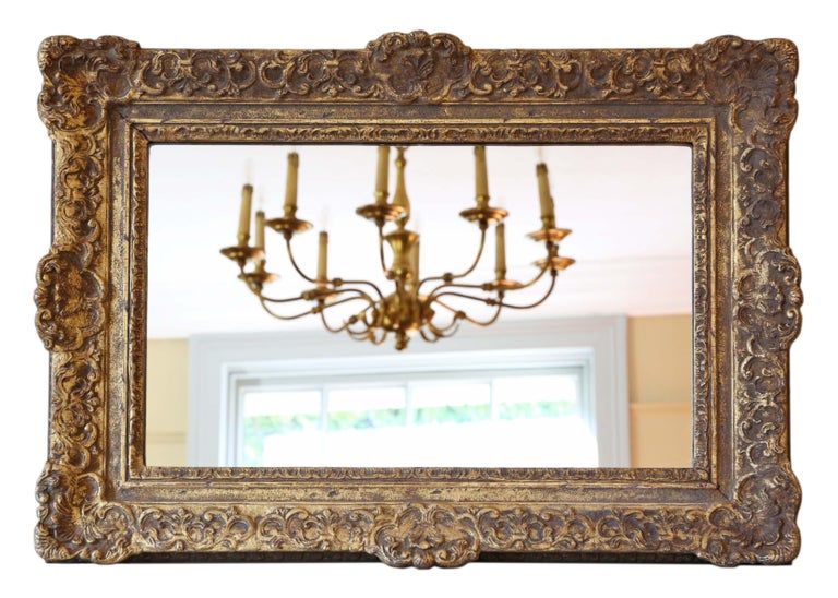 Antique Gilt Wall Mirror 19th Century Overmantle For Sale 3