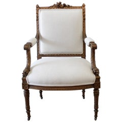 Antique Giltwood French Louis XVI Style Chair with Linen Upholstery