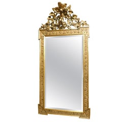 Antique Giltwood Mirror with Carved Molding, Italy, 1800