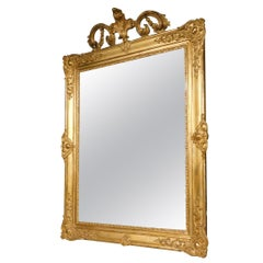 Antique Giltwood Mirror with Large Carved Molding, Italy, 1800