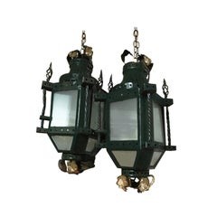 Antique Gilt Wrought Iron French Deco Lantern Pendant, Green, Belle Époque, Gold