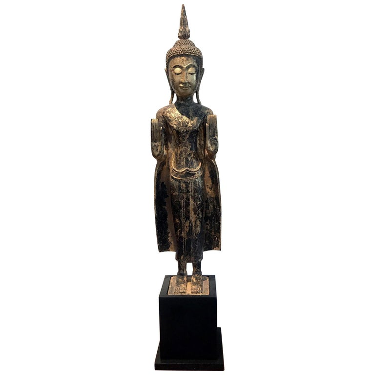 Antique Giltwood Buddha Statue For Sale