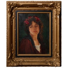 Antique Giltwood Framed Oil on Canvas Portrait Painting of Maiden by Graf