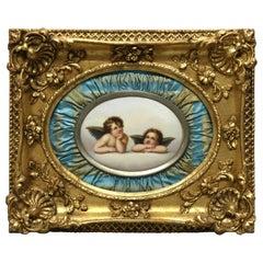 Antique Giltwood Framed Painting on Porcelain KPM School of Winged Cherubs 19thC
