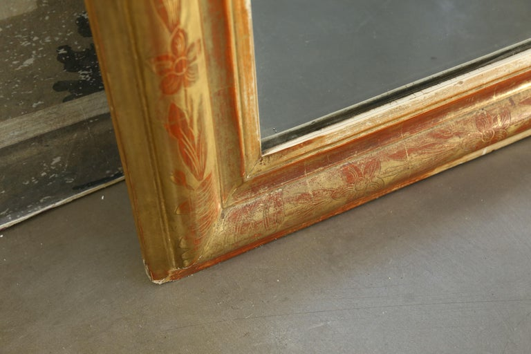 19th Century Antique Giltwood Louis Philippe Mirror from France