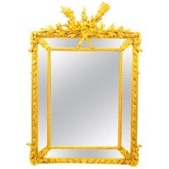 Antique Giltwood Louis Revival Overmantel Cushion Mirror, 19th Century
