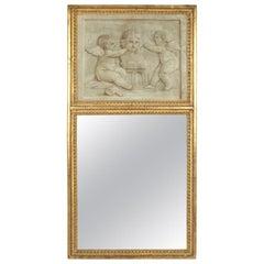 Antique Giltwood Louis XVI Style Trumeau Mirror