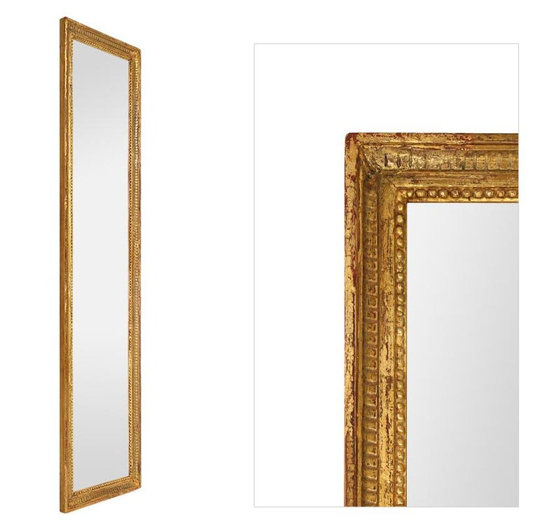French Antique Giltwood Wall Mirror, Louis XVI Style, circa 1900 For Sale