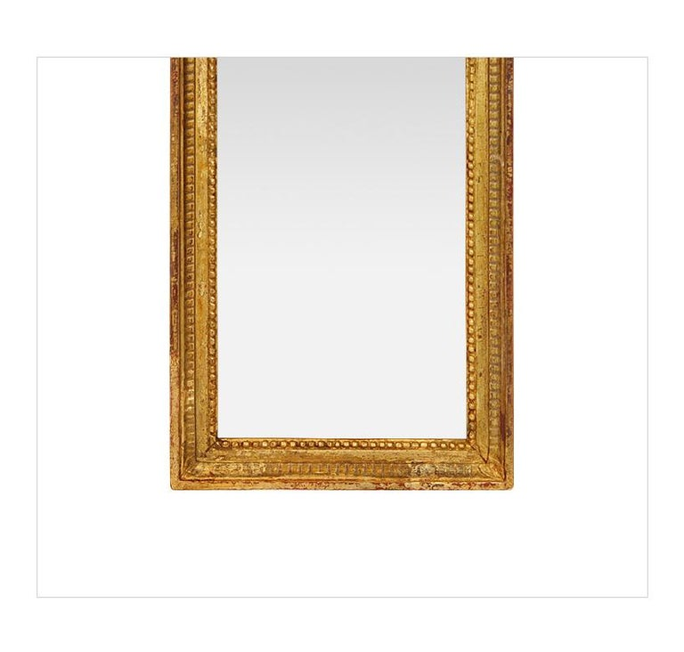 Antique Giltwood Wall Mirror, Louis XVI Style, circa 1900 In Good Condition For Sale In Paris, FR