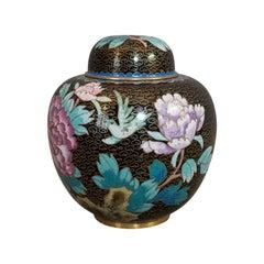 Antique Ginger Jar, Oriental, Cloisonné, Decorative, Spice Urn, Victorian, 1900