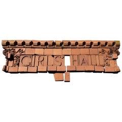 Antique Girls Hall Terracotta Building Plaque, 19th Century