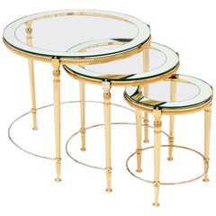 Antique Glass and Brass Nesting Tables