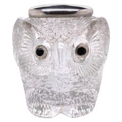 Antique Glass and Sterling Owl Match Strike