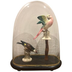 Antique Glass Bell with Ceramic Birds