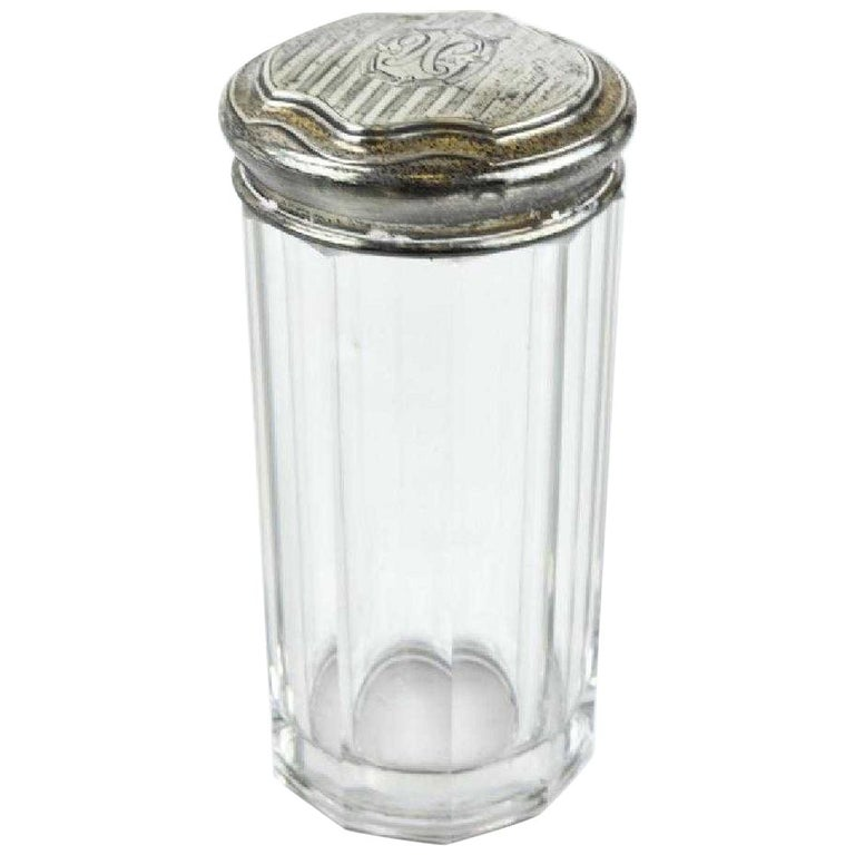 Antique Glass Cotton Swab Bottle with Sterling Silver Top For Sale