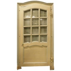 Antique Glass Door, Wavy Frame, Yellow / Gray Lacquered, Late 18th Century Italy