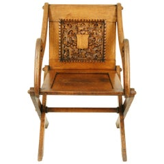 Antique Glastonbury Chair, Arts & Crafts Chair, Oak Chair, Scotland, 1900, B1538