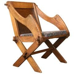 Antique Glastonbury Chair, English, Tudor Revival, Hall Seat, circa 1900