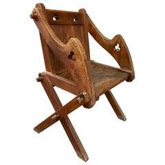 Antique Glastonbury Chair, Tudor Revival, Ecclesiastical, Gothic