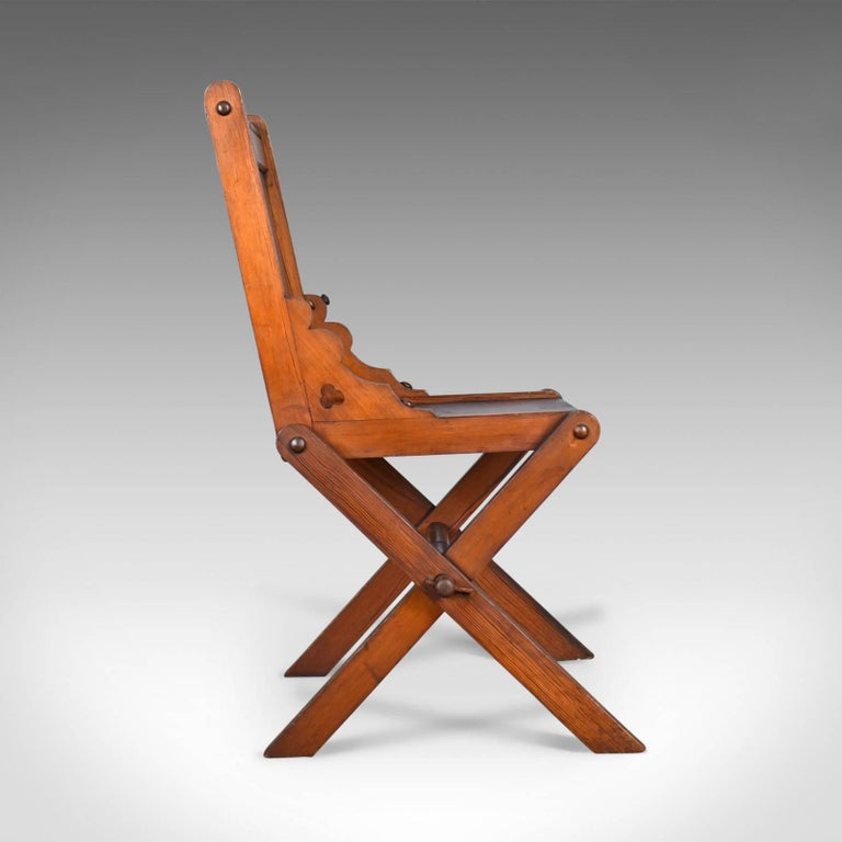 Victorian Antique Glastonbury Chair, English, Tudor Revival, Hall Seat, circa 1880 For Sale
