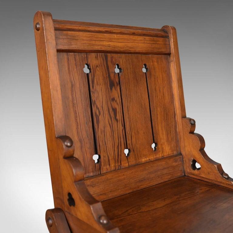 19th Century Antique Glastonbury Chair, English, Tudor Revival, Hall Seat, circa 1880 For Sale