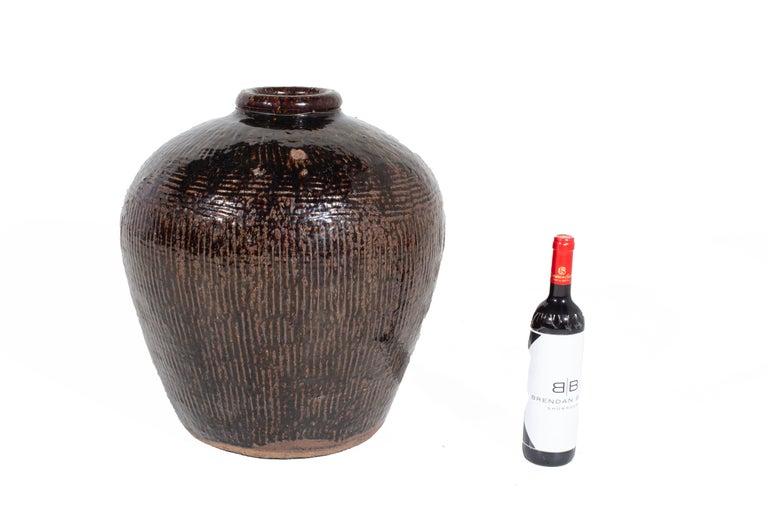 Antique Glazed Storage Jar In Good Condition For Sale In Dallas, TX