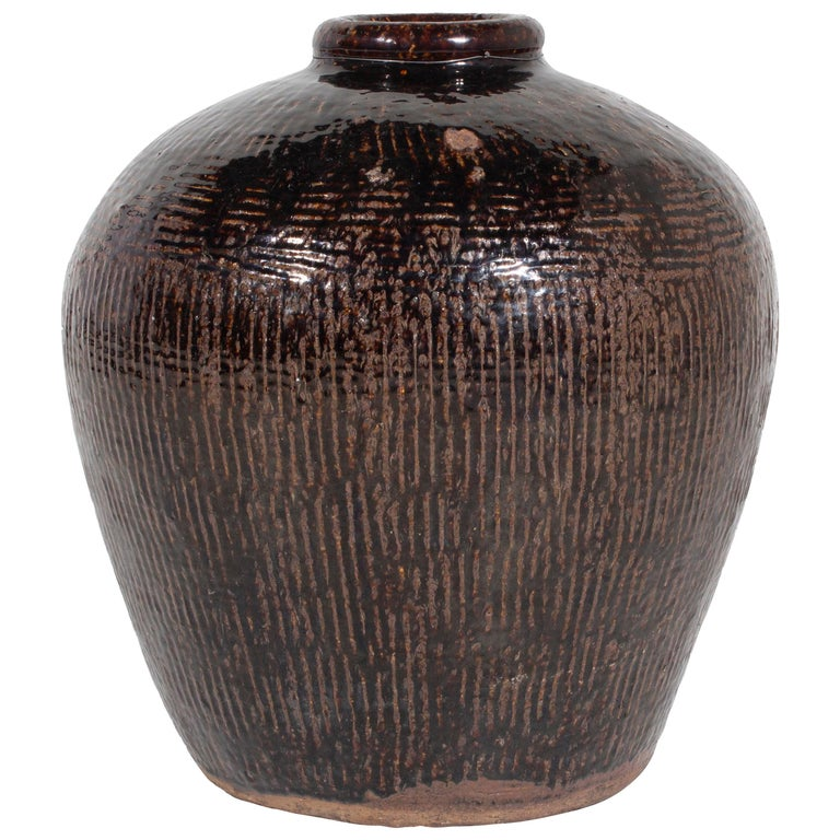Antique Glazed Storage Jar For Sale