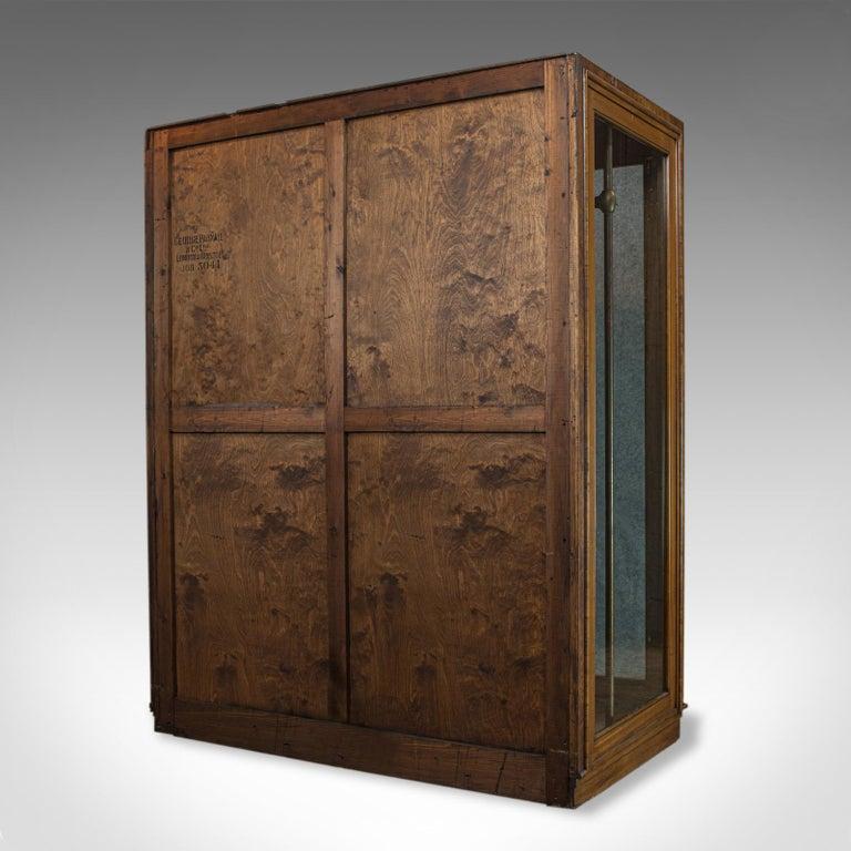 English Antique Glazed Wardrobe Cabinet, Oak, Retail Shop Fitting, Display, circa 1900 For Sale