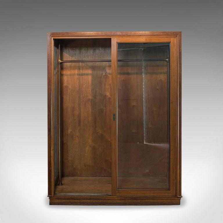 Glass Antique Glazed Wardrobe Cabinet, Oak, Retail Shop Fitting, Display, circa 1900 For Sale