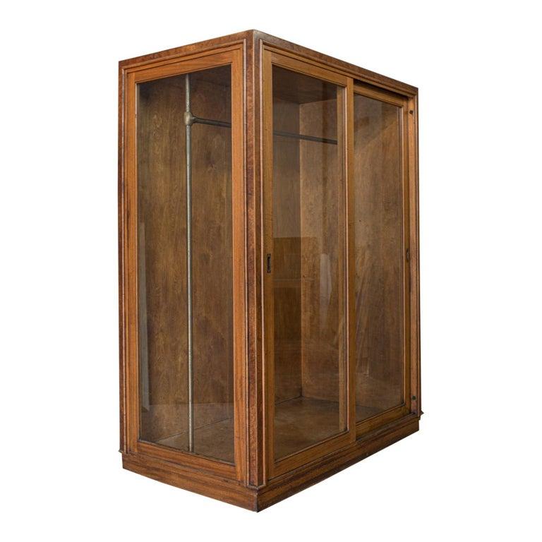 Antique Glazed Wardrobe Cabinet, Oak, Retail Shop Fitting, Display, circa 1900 For Sale