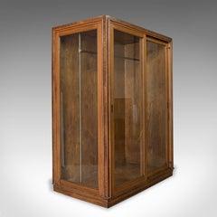 Antique Glazed Wardrobe Cabinet, Oak, Retail Shop Fitting, Display, circa 1900