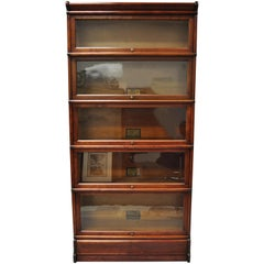 Antique Globe Wernicke Mahogany 5-Section Stacking Lawyers Barrister Bookcase