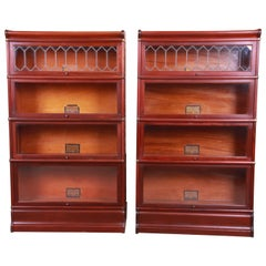 Antique Globe Wernicke Mahogany Barrister Bookcases with Leaded Glass Doors