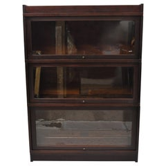 Antique Globe Wernicke Mahogany Stacking 3 Section Barrister Lawyers Bookcase