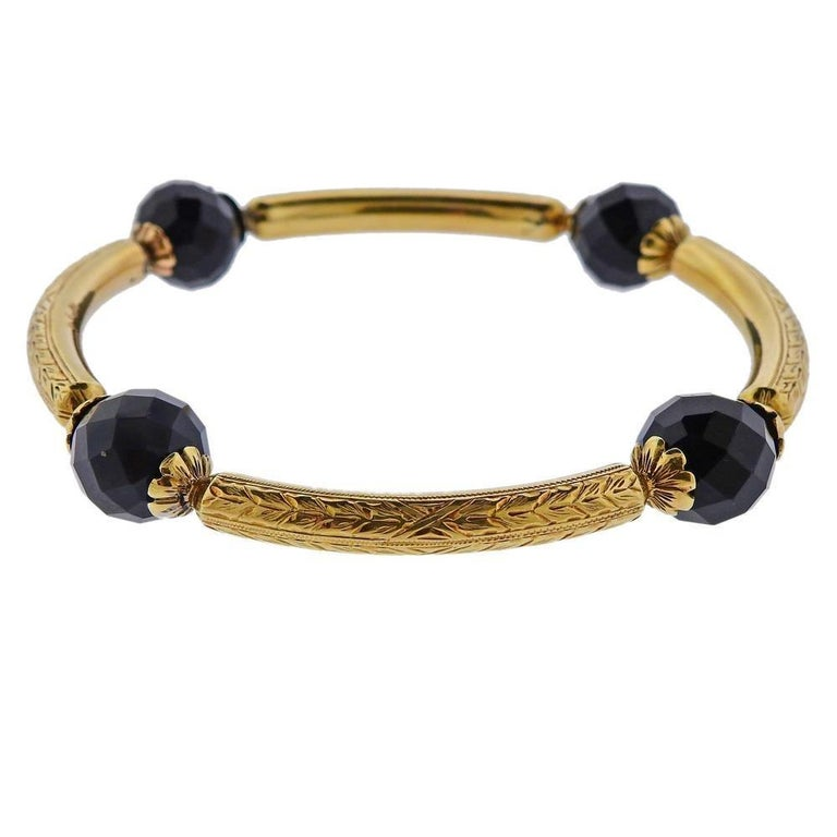 Antique Gold Agate Bangle Bracelet In Excellent Condition For Sale In New York, NY