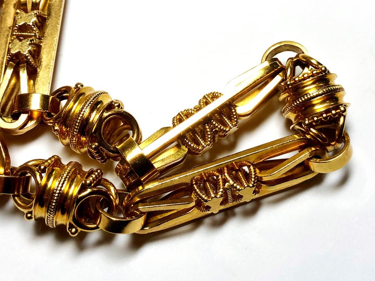 Antique Gold Albert Chain Necklace In Good Condition For Sale In London, GB