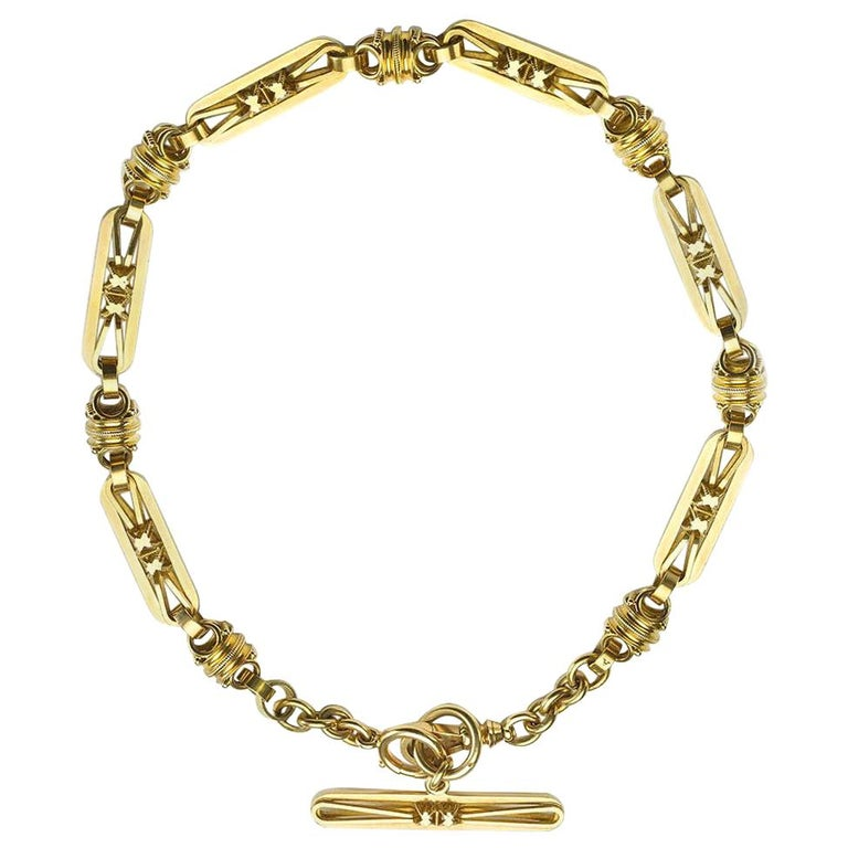 Antique Gold Albert Chain Necklace For Sale