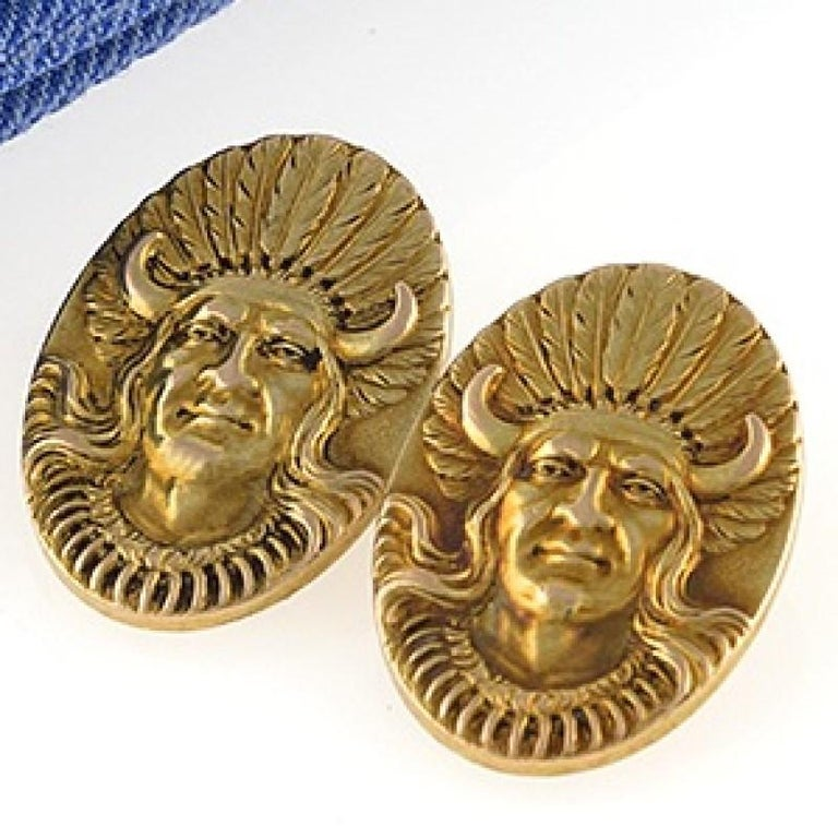 Men's Antique Gold American Indian Chief Cuff Links For Sale